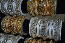 Load image into Gallery viewer, Fancy Metal Bangles - Gold/ Silver