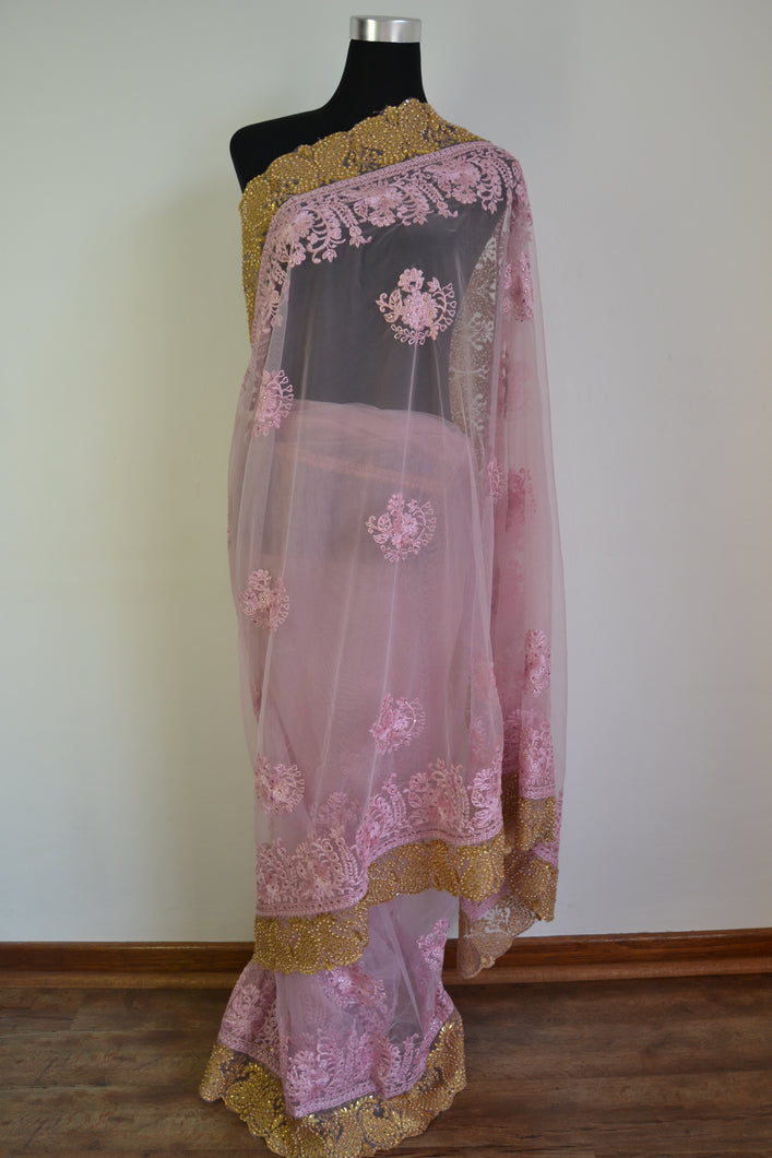 Net Saree - Lilac