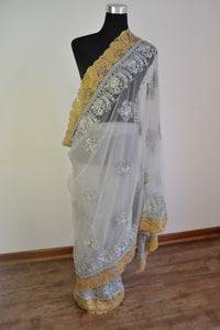 Net Saree - Light Grey