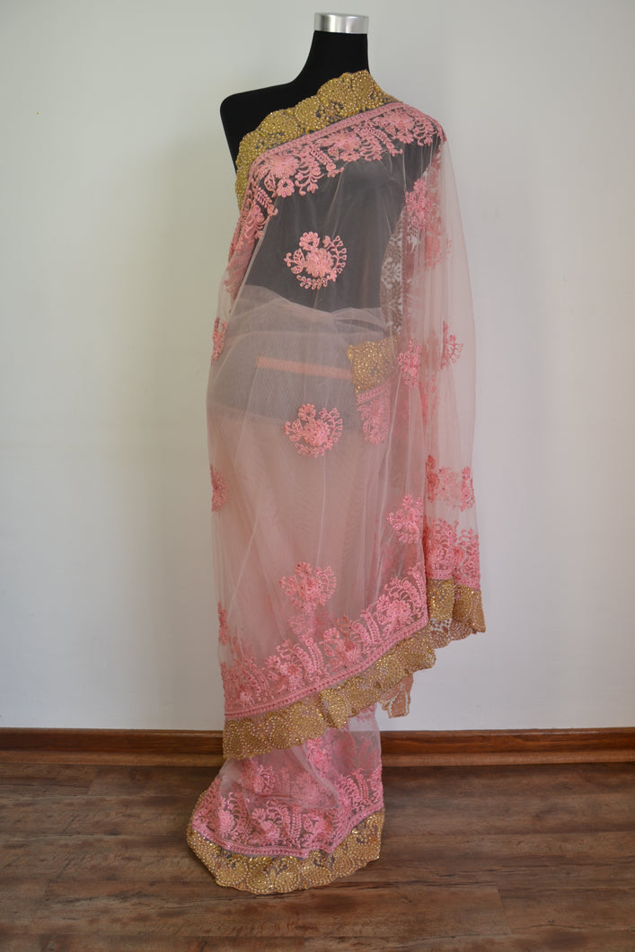 Net Saree - Peach
