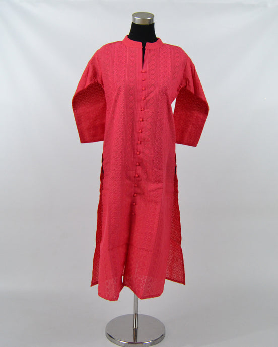 Ladies Cotton Embroidered Kurtis - Dark Pink