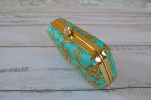 Pill Box Clutch Bag - Teal