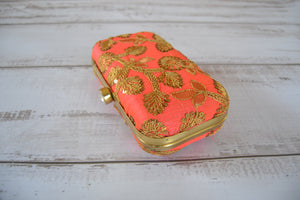 Pill Box Clutch Bag - Peach