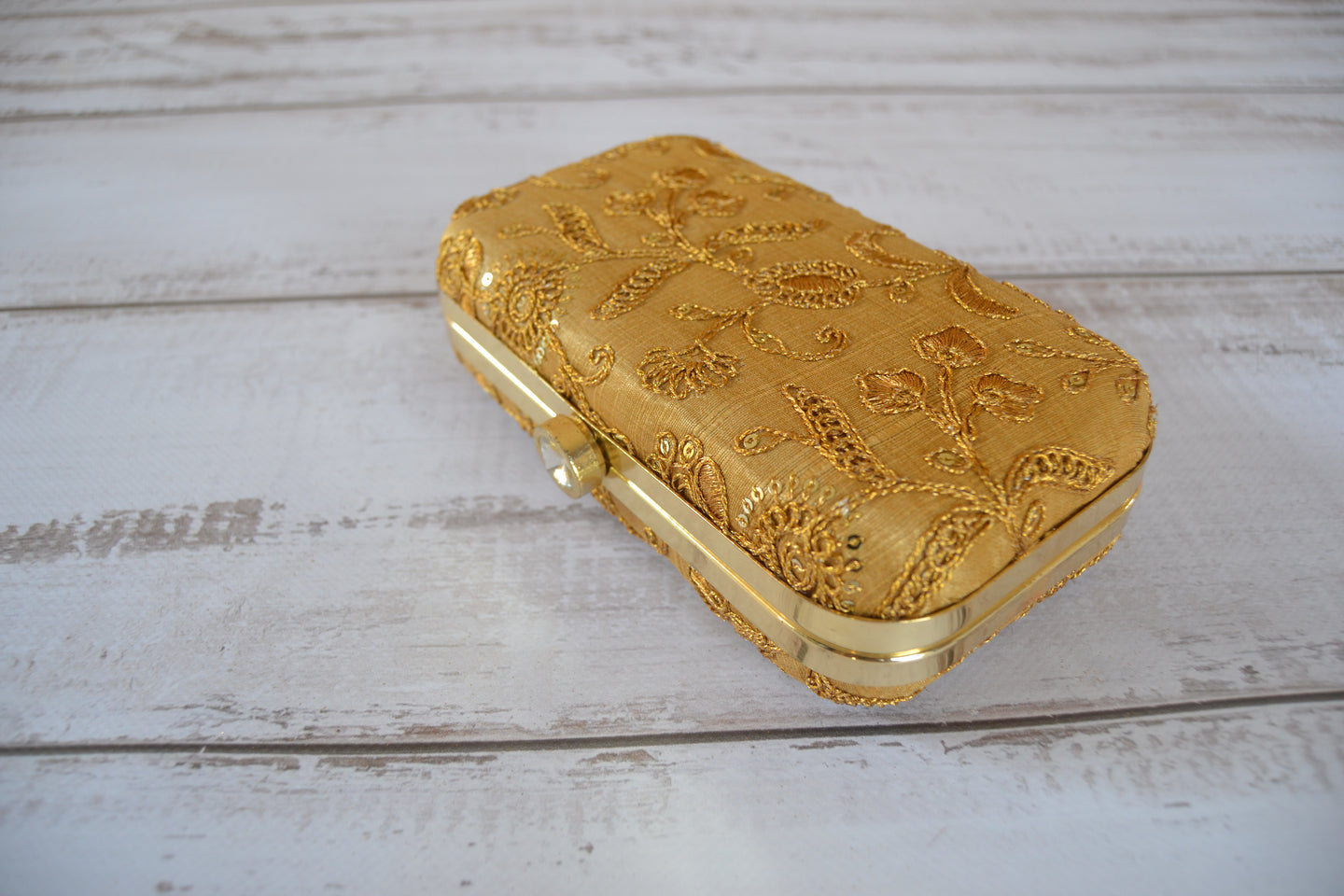 Pill Box Clutch Bag - Gold