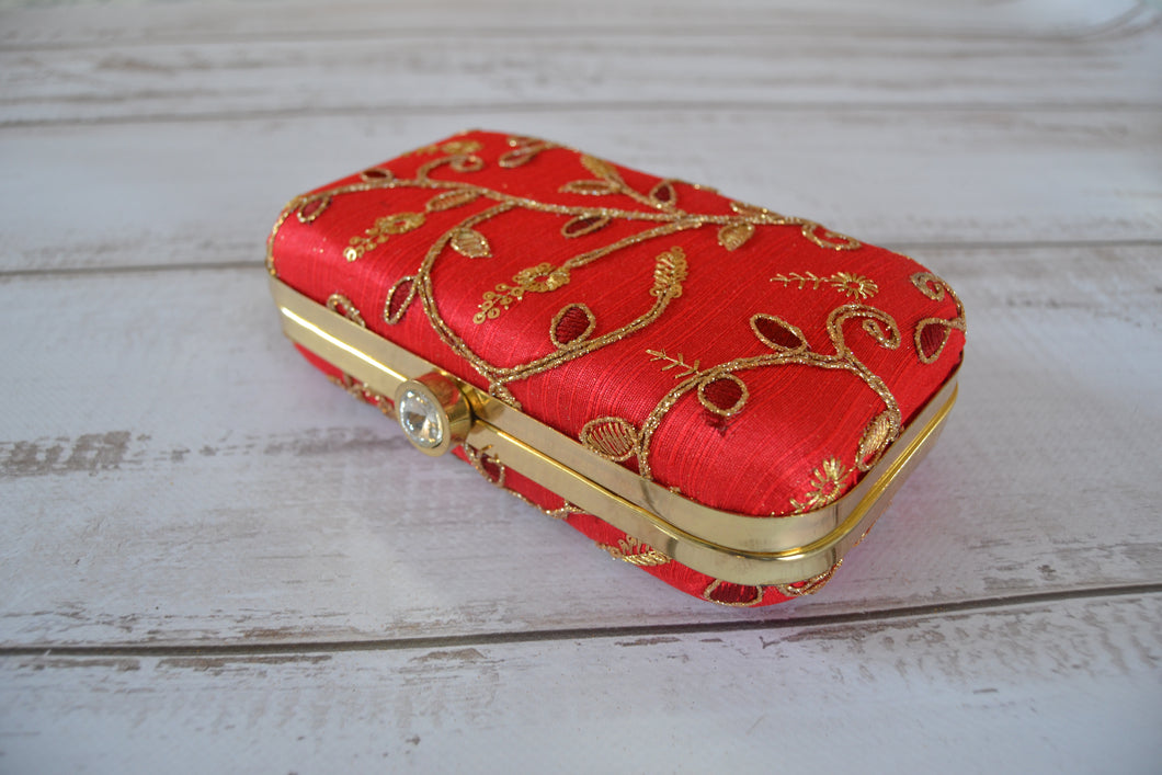 Pill Box Clutch Bag - Red