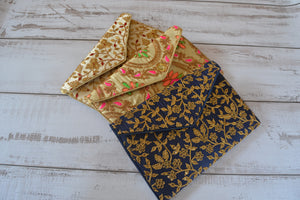 Saree Clutch Bag - Gold & Pink