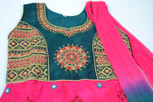 Load image into Gallery viewer, Girls Anarkali Punjabi - Pink/Green