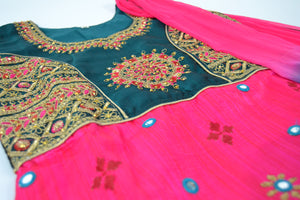 Girls Anarkali Punjabi - Pink/Green