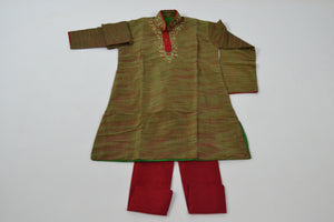 Boys Cotton Kurta & Pants Sets - Green