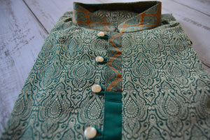 Men's Embroidered Kurtas - Teal