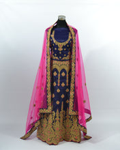 Load image into Gallery viewer, Navy Blue/Pink Lengha