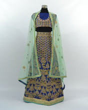 Load image into Gallery viewer, Navy Blue/Gold Lengha