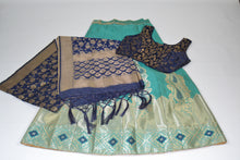 Load image into Gallery viewer, Banarasi Silk Lengha - Teal/Navy