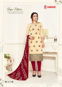Gangour Collection Everyday Punjabi - Ivory/Red