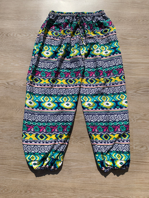 Boho Pants Floral Blue & Green