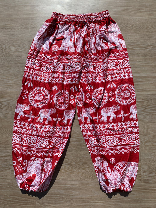 Boho Pants Elephant Print Red