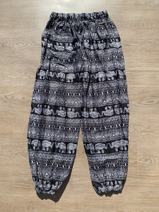 Boho Pants Elephant Print Black