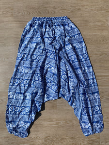 Harem Pants Elephant Print Blue