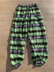 Boho Pants Elephant Print Green