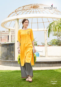 Kurti and Palazzo Pants Set - Yellow/Grey