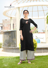 Load image into Gallery viewer, Kurti & Palazzo Pants Set - Black/Grey