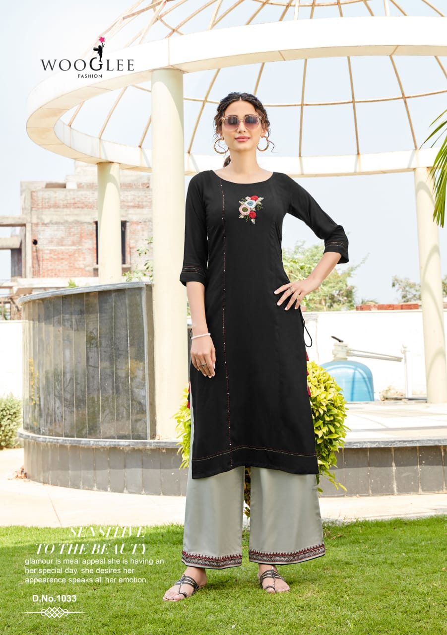 Kurti & Palazzo Pants Set - Black/Grey