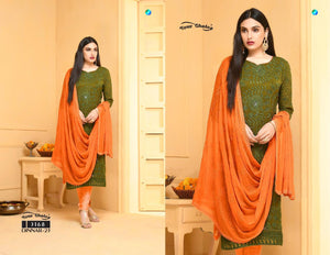 Dinnar Collection Punjabi - Olive Green and Orange