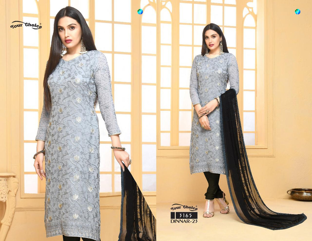 Dinnar Collection Punjabi - Grey and Black