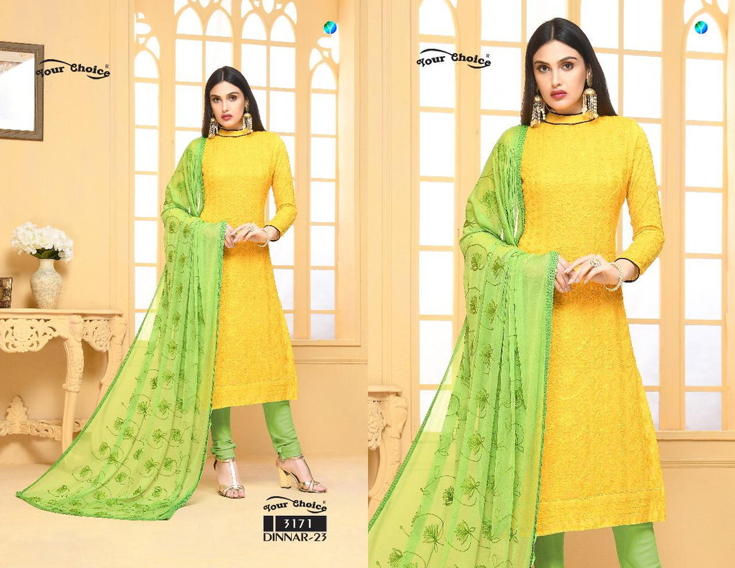 Dinnar Collection Punjabi - Yellow and Green