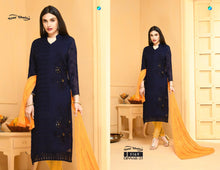 Load image into Gallery viewer, Dinnar Collection Punjabi- Navy Blue and Mustard