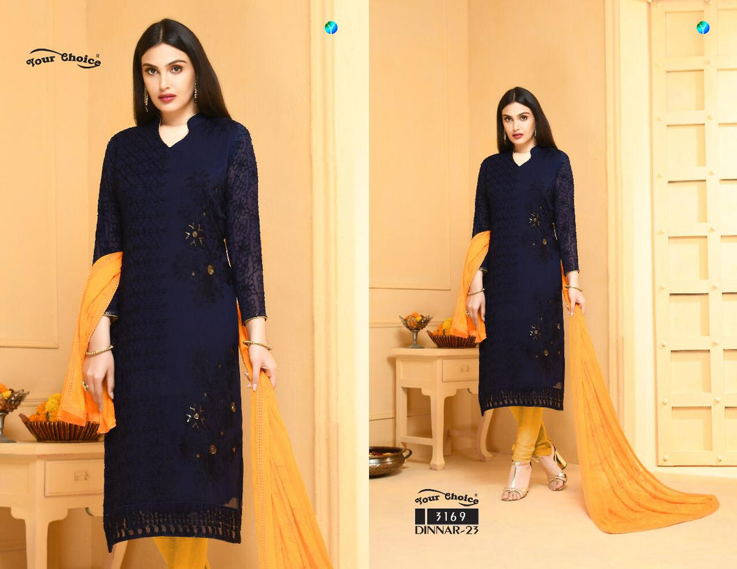 Dinnar Collection Punjabi- Navy Blue and Mustard