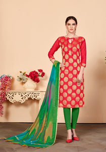 Gangour Collection Everyday Punjabi - Red and Green