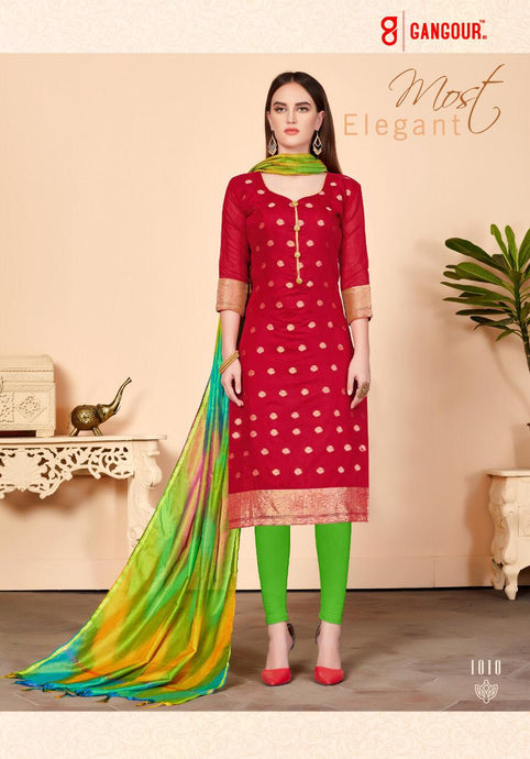 Gangour Collection Everyday Punjabi - Dark Red and Green