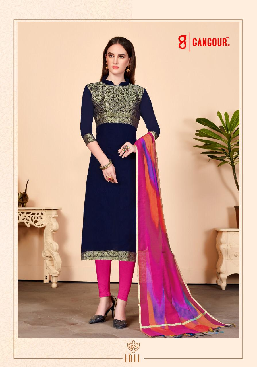 Gangour Collection Everyday Punjabi - Navy and Pink