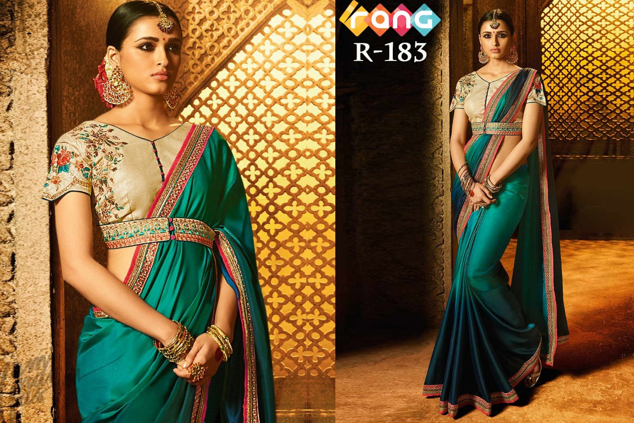 Rangoli Silk Saree - Emerald Green