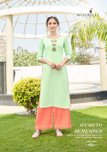 Kurti and Palazzo Pants Set - Lime/Peach