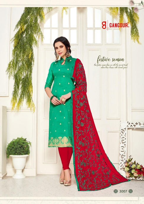 Gangour Collection Everyday Punjabi - Green/Red