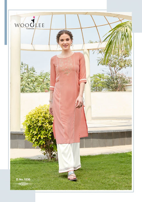 Kurti and Palazzo Pants Set - Pink/White