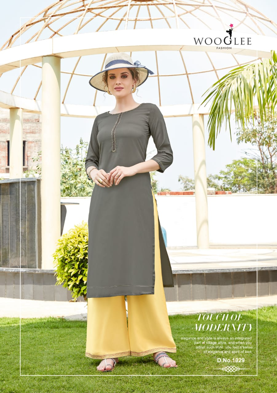 Kurti and Palazzo Pants Set - Grey/Yellow
