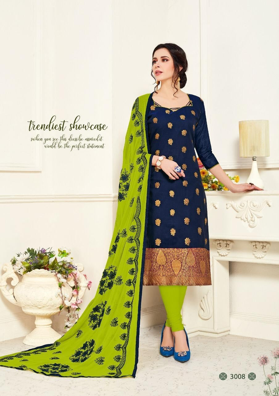 Gangour Collection Everyday Punjabi - Navy Blue/Green