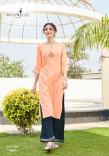 Load image into Gallery viewer, Kurti and Palazzo Pants Set - Peach/Blue