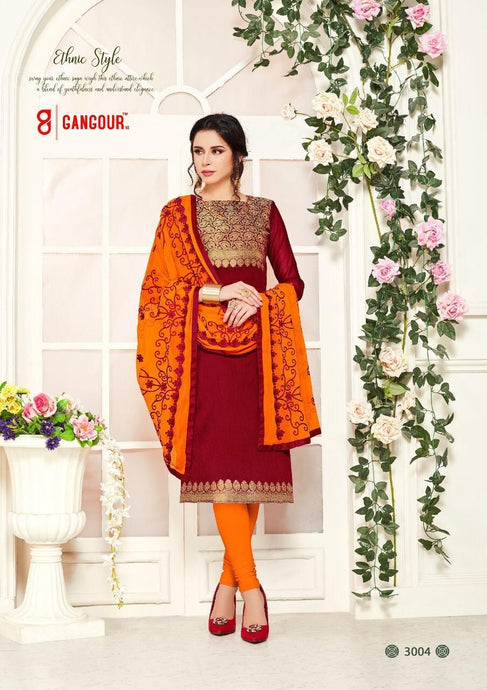 Gangour Collection Everyday Punjabi - Red/Orange
