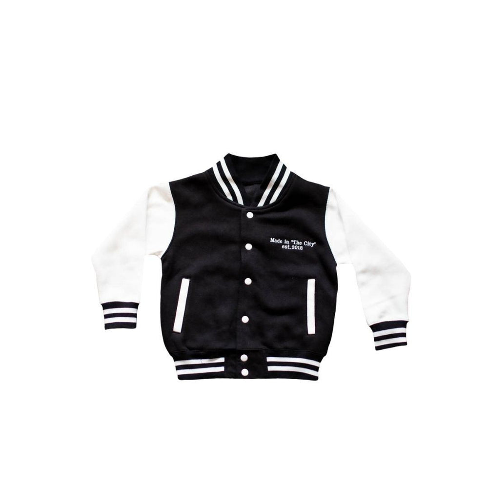 'MADE IN THE CITY' BLACK VARSITY JACKET