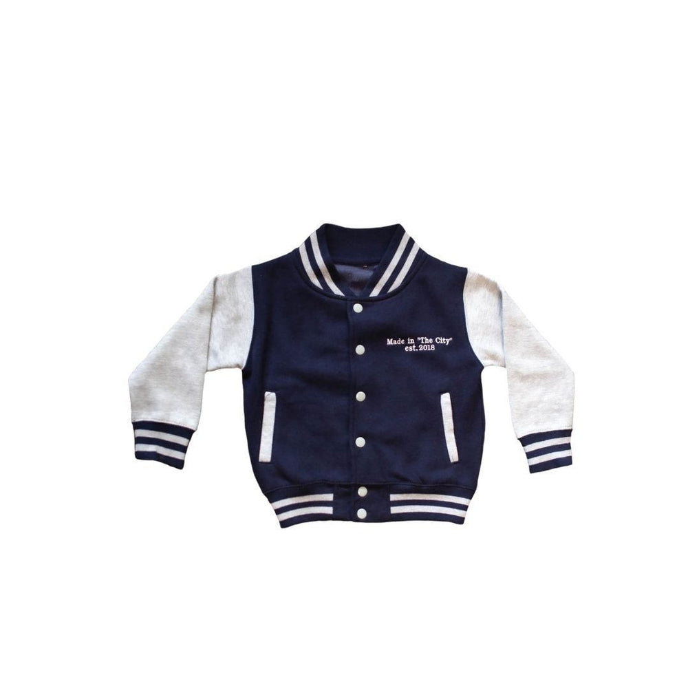 'MADE IN THE CITY' NAVY/GREY VARSITY JACKET
