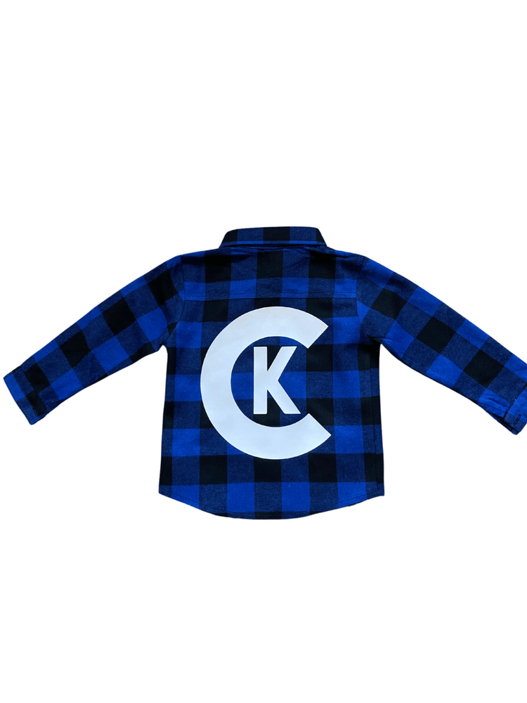 BLUE AND BLACK CLASSIC LOGO FLANNEL
