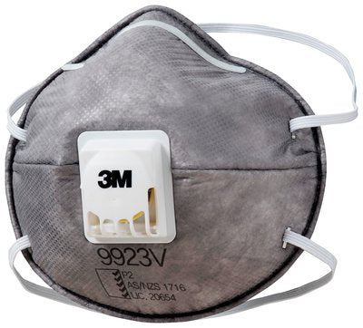 3M™ Cupped P2 Particulate Respirator 9923V with Nuisance Level* Organic Vapour Relief (Box=10)