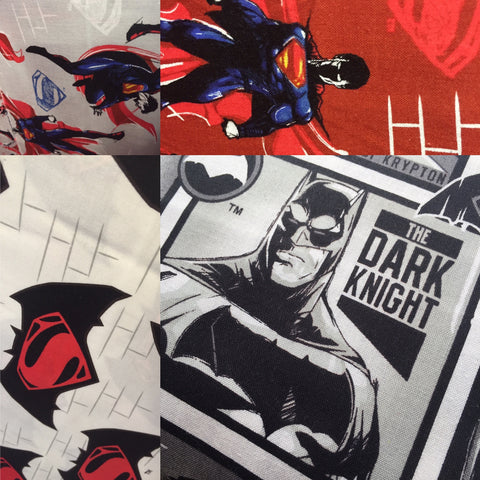 Batman Vs Superman Fabric on display in our Darlington, Durham shop