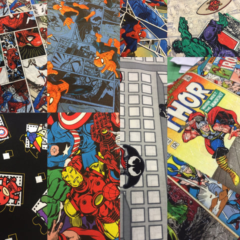 comic Book Marvel Fabric, Featuring spiderman, thor, hulk, Iron Man, Captain America super hero and more
