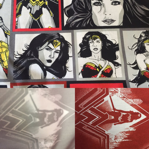 Wonder Woman Fabric retro Batman vs Superman craft quality cotton