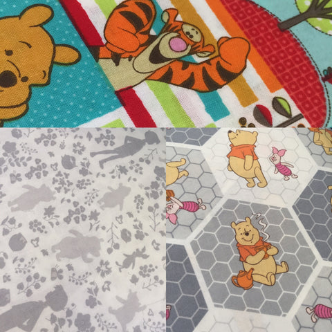 winnie the pooh Craft fabric and a cot panel
